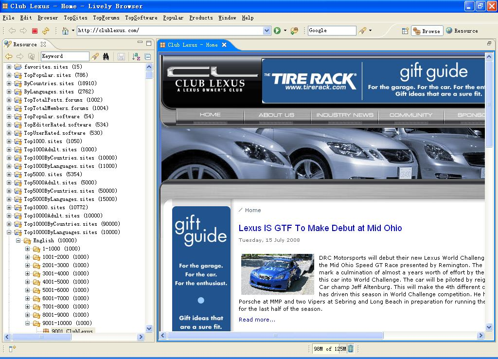 Click to view Lively Browser Standard 4.3.0 screenshot