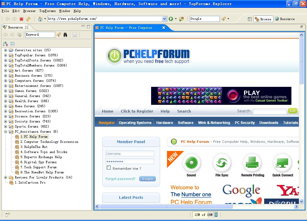 TopForums Explorer software screenshot